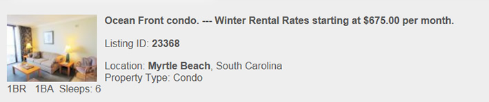Myrtle Beach SC  Rental, Snowbird Monthly Vacation Rental By Owner, Warm Winter Rentals