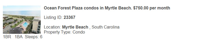 Myrtle Beach, SC  Rental, Snowbird Monthly Vacation Rental By Owner, Warm Winter Rentals