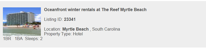 Myrtle Beach South Carolina Rental, Monthly Snowbird Vacation Rental By Owner
