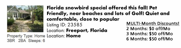 Click here to view this Snowbird Rental in Freeport, Florida