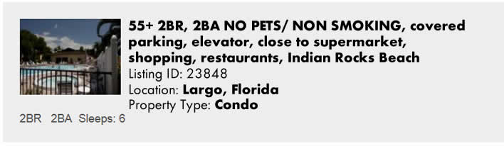 Click here to view this Snowbird Rental in Largo, FL