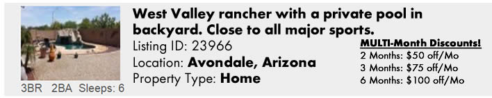 View this Avondale, AZ Multi-Month Snowbird Monthly Vacation Rental by Owner