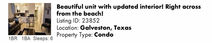 View this Galveston, TX Multi-Month Snowbird Monthly Vacation Rental by Owner