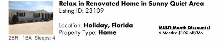 View this Holiday, FL Multi-Month Snowbird Monthly Vacation Rental by Owner