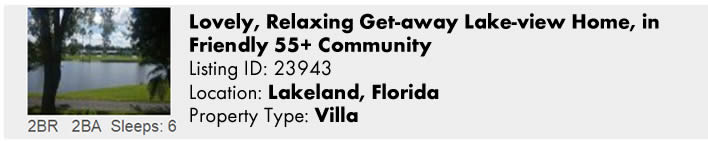 View this Lakeland, FL Multi-Month Snowbird Monthly Vacation Rental by Owner