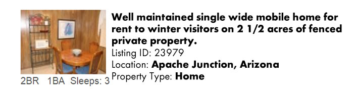 View this Apache Junction, AZ Multi-Month Snowbird Monthly Vacation Rental by Owner