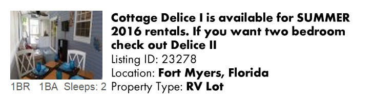 View this Fort Myers, FL RV Lot that is a Multi-Month Snowbird Monthly Vacation Rental by Owner