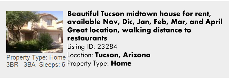 View this Tucson, AZ Multi-Month Snowbird Monthly Vacation Rental by Owner