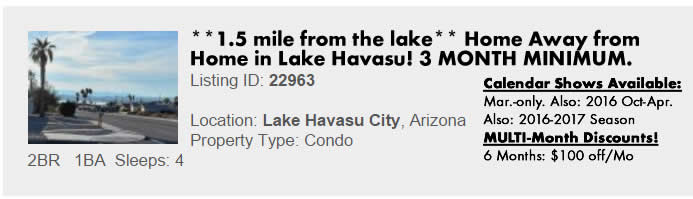 Lake Havasu City, AZ Vacation Rental - Multimonth Winter Snowbird Rental