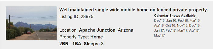 Apache Junction Arizona Snowbird Rental