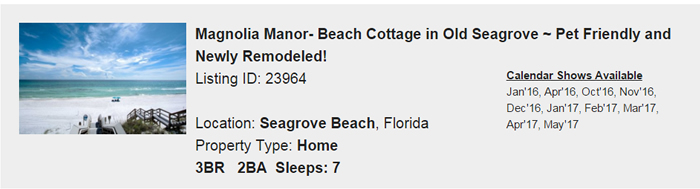 Seagrove Beach Florida Snowbird Rental