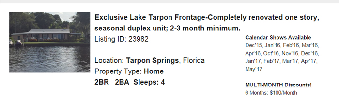 Tarpon Springs Florida Snowbird Rental