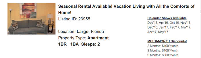 Largo Florida-Snowbird-Rental