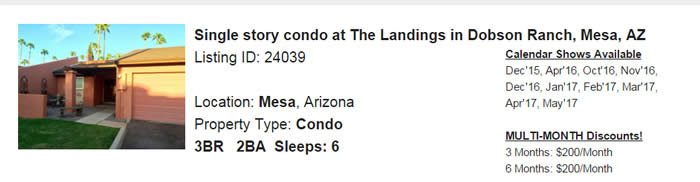 Mesa Arizona Snowbird Rental