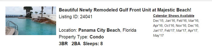 Panama City Beach Florida Snowbird Rental