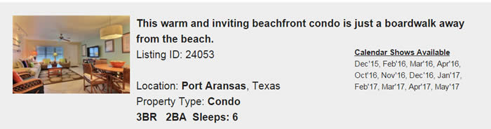 Port Aransas Texas Snowbird Rental