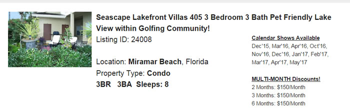 Miramar Beach Florida Snowbird Rental