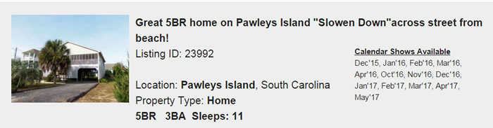 Pawleys Island South Carolina Snowbird Rental