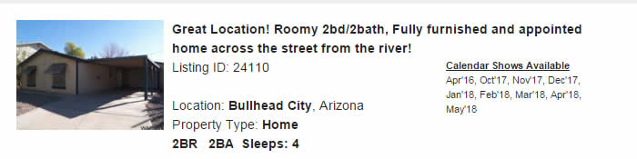 Bullhead City Arizona Snowbird Rental