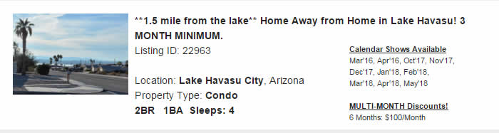 Lake Havasu City Arizona Snowbird Rental