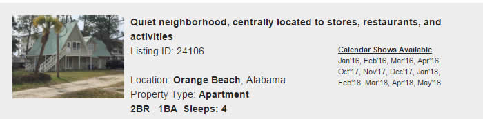 Orange Beach Alabama Snowbird Rental