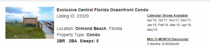 Ormond Beach Florida Snowbird Rental
