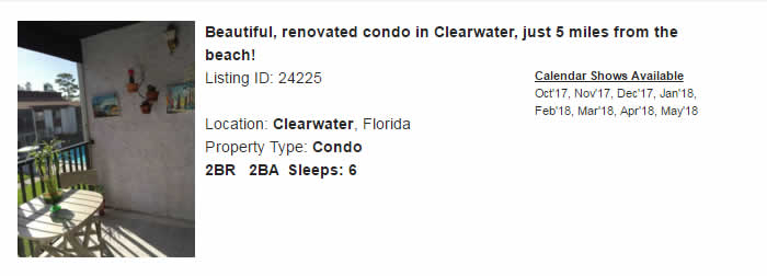 Clearwater Florida Snowbird Rental
