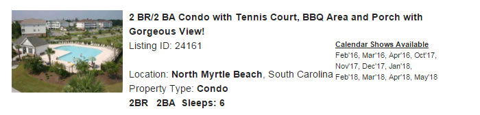 North Myrtle Beach South Carolina Snowbird Rental