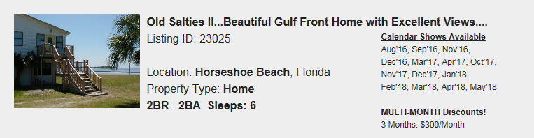 HorseshoeBeach-FL-Snowbird-Rental