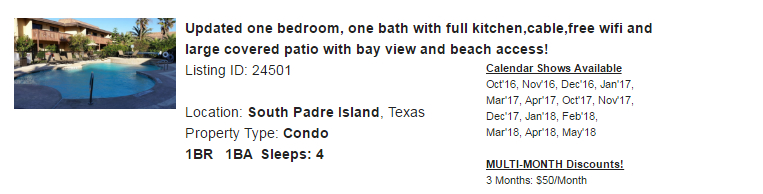 South Padre Island TX Snowbird Rental - Vacation Rental by Owner