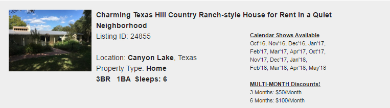 Canyon Lake, Texas Snowbird Rental