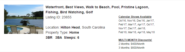 Hilton Head, South Carolina Snowbird Rental
