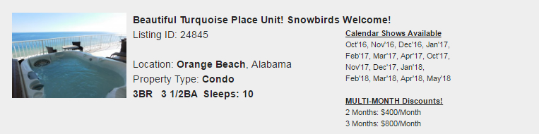 Orange Beach, Alabama Snowbird Rental