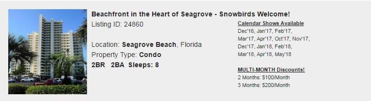 Seagrove Beach, Florida Snowbird Rental