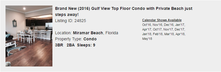 Miramar Beach, Florida Snowbird Rental
