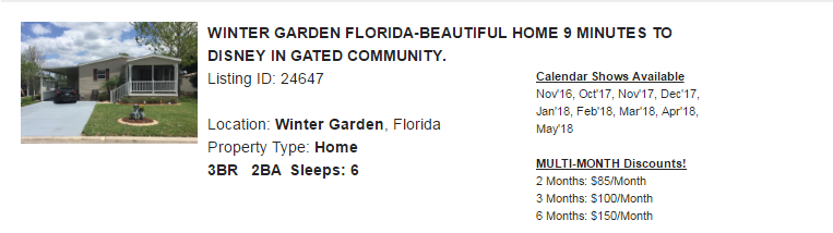 Winter Garden, Florida Snowbird Rental