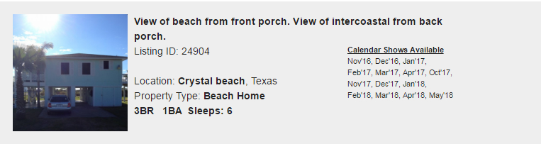 Crystal Beach, Texas Snowbird Rental