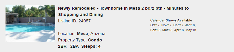 Mesa, Arizon Snowbird Rental