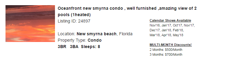 New Smyrna Beach, Florida Snowbird Rental
