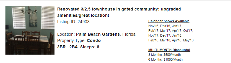 Palm Beach Gardens, Florida Snowbird Rental