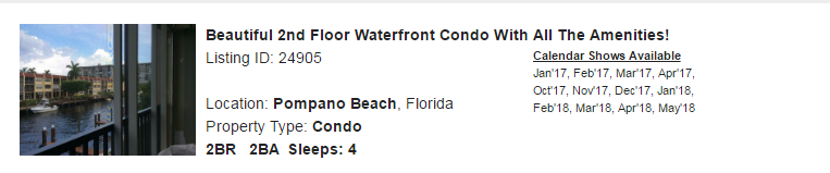 Pompano Beach, Florida Snowbird Rental
