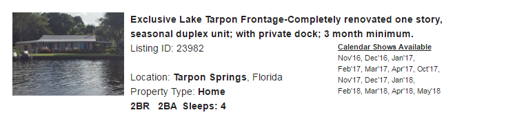 Tarpon Springs, Florida Snowbird Rental