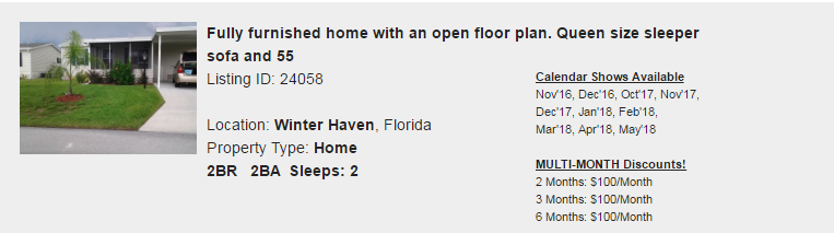Winter Haven, Florida Snowbird Rental