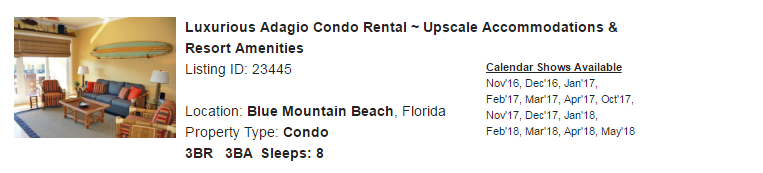 Blue Mountain Beach, Florida Snowbird Rental