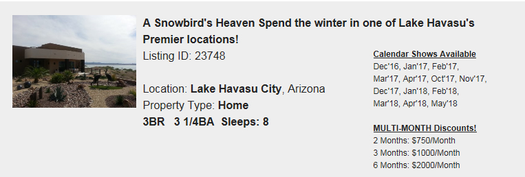 Lake Havasu City, Arizona Snowbird Rental