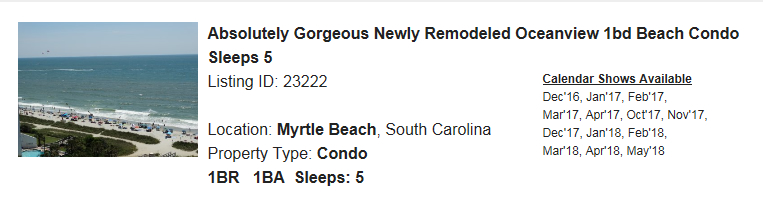 Myrtle Beach, South Carolina Snowbird Rental