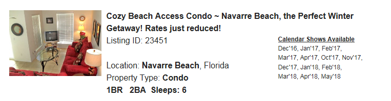 Navarre Beach, Florida Snowbird Rental
