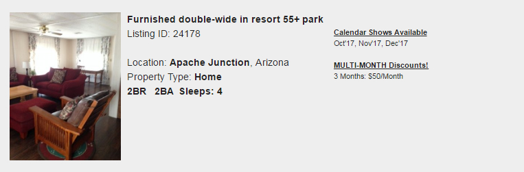 Apache Junction, Arizona Snowbird Rental