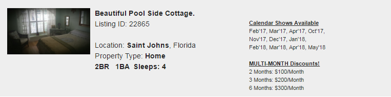 Saint Johns, Florida Snowbird Rental