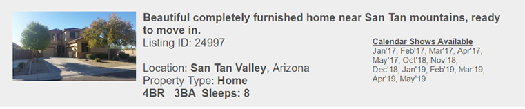 San Tan Valley, Arizona Vacation Rental by Owner - Monthly and Multi-Month Snowbird Rental